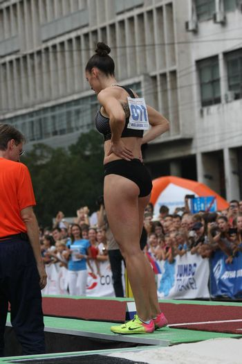 BELGRADE,SERBIA - SEPTEMBER 11 , 2016: Ivana Spanovic after her jump at long jump competition as promotion of European athletics indoors championship which will be held from 3-5.March ,2017 in Belgrade,Serbia