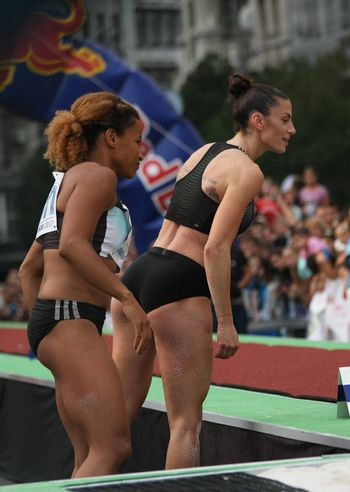 BELGRADE,SERBIA - SEPTEMBER 11 , 2016: Ivana Spanovic and Jazmin Sawyers checking result after jump at long jump competition as promotion of European athletics indoors championship which will be held from 3-5.March ,2017 in Belgrade,Serbia
