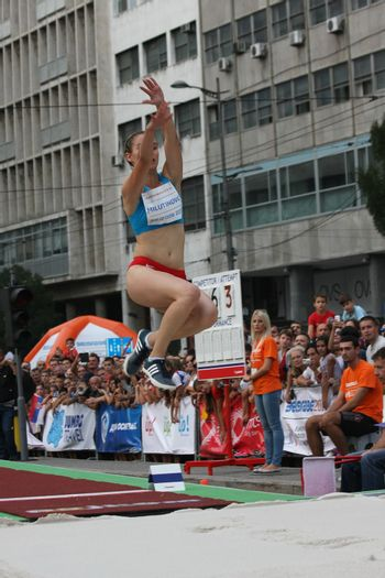 BELGRADE,SERBIA - SEPTEMBER 11 , 2016: Marija Milutinovic jumping at long jump competition as promotion of European athletics indoors championship which will be held from 3-5.March ,2017 in Belgrade,Serbia
