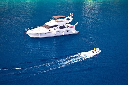 Yachting on blue sea aerial view