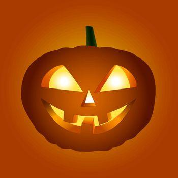 Halloween pumpkin with glowing eyes on orange-red background.
