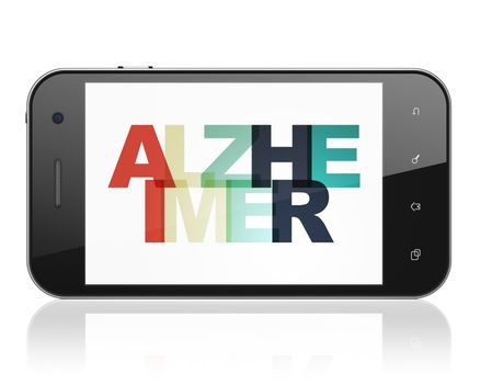 Healthcare concept: Smartphone with Alzheimer on  display