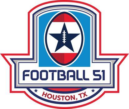 Houston American Football 51 Stars Crest Retro