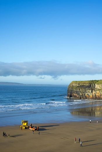a semi-submersible vehicle towing sea rescue craft to the sea for launching in Ballybunion ireland