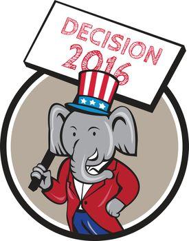 Republican Elephant Mascot Decision 2016 Circle Cartoon