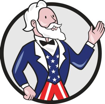 Uncle Sam American Waving Hand Circle Cartoon