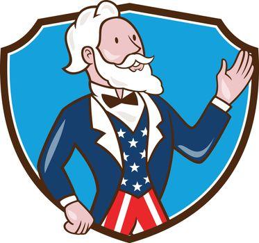 Uncle Sam Waving Hand Crest Cartoon