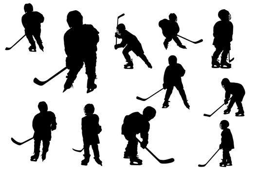 collage of silhouettes hockey players