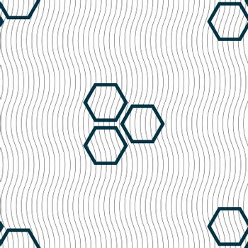 Honeycomb icon sign. Seamless pattern with geometric texture. Vector