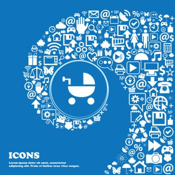 Baby Stroller icon sign. Nice set of beautiful icons twisted spiral into the center of one large icon. Vector