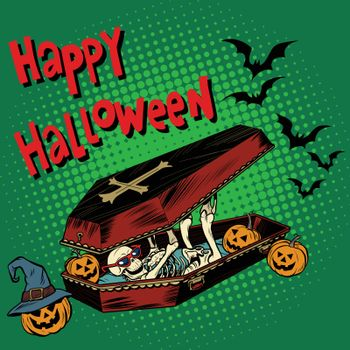 Happy Halloween holiday, coffin skeleton evil pumpkin
