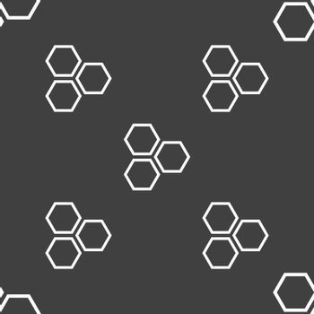Honeycomb icon sign. Seamless pattern on a gray background. Vector