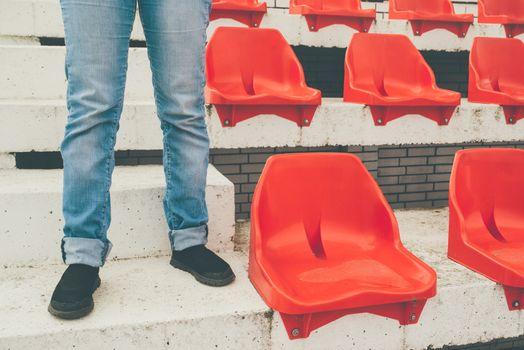 Team supporter on empty stadium