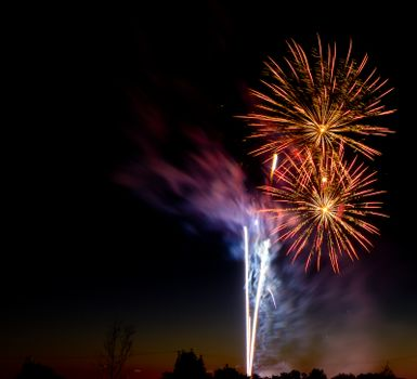 Fireworks used on both new years and 4th of july. includes two burst as well as a couple rocket trails