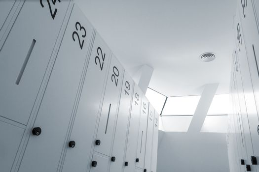 Abstract looking picture of modern locker room