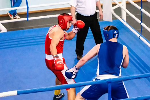 Orenburg, Russia - from April 29 to May 2, 2015 year: Boys boxers compete the tournament among Juniors the memory of A.T. Kayumova