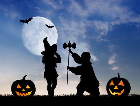 illustration of children dressed for Halloween