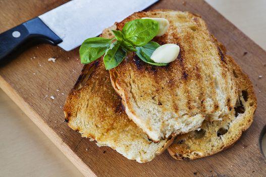 toasted bread garlic basil