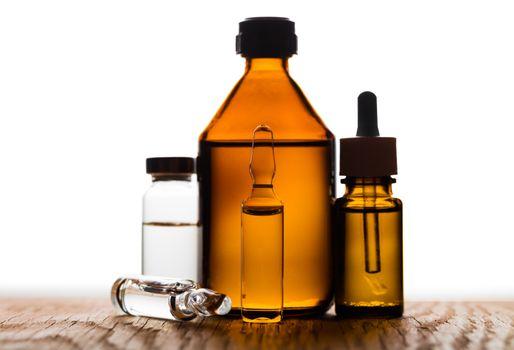 medicament in a glass vial closeup