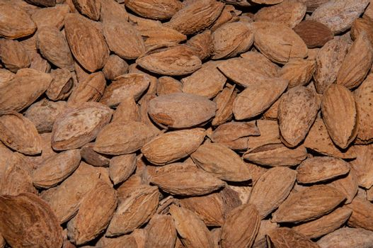 Fruit sweet Almond use in the food fresh, toasted and salty
