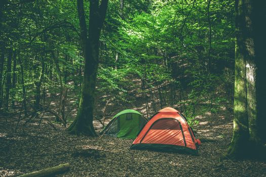 Camping site with two tents