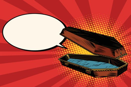 Wooden coffin says comic bubble