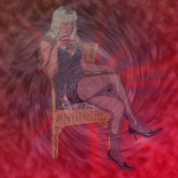 Drawing woman in lingerie sitting on a chair in front of the plasma background.