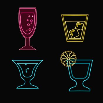 vector set silhouettes of neon Cocktail glasses - Illustration
