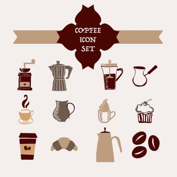 Coffee icons set hand-drawing sketch style collection