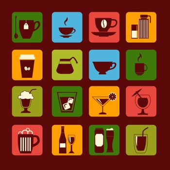 vector icons set of drinks, glasses and beverages -illustration