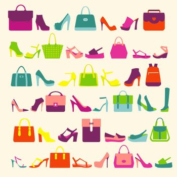 pattern  of  fashion Women bags handbags and High Heels shoes
