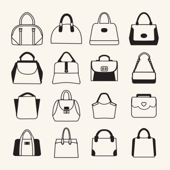 set icons of Women and men handbags and travel bag in  sketch style