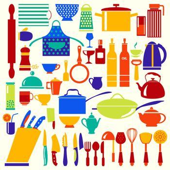 vector kitchen and restaurant icon kitchenware set
