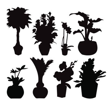 Vector Decorative of eight Potted plant silhouette collection  isolated on white.