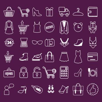 Shopping and Retail related icons set - Simplines series. Minimalistic shopping Online Icons