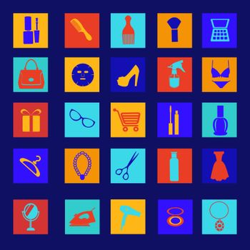 vector icon set of beauty, shopping women accessories silhouettes collection-illustration