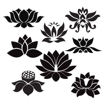 Vector Lotus flowers silhouettes. Set of eight vector illustrations. - Illustration  on white background
