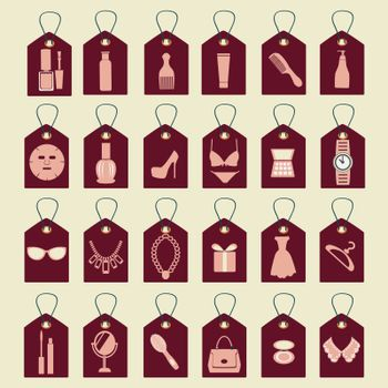 vector icon set of beauty, shopping women accessories collection  silhouettes-illustration