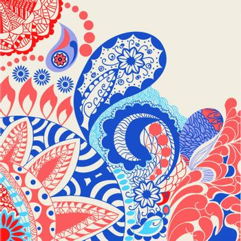 vector flowers and paisley pattern decorative vector card illustration doodle funny Colorful background