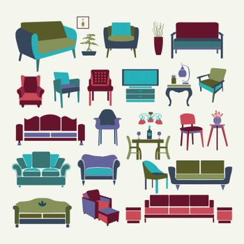 Vector Collection  of icons set Interior  design elements.  Furniture set  -illustration