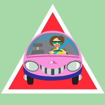 Cheerful symbol of woman driving car warning sign-illustration