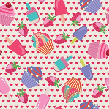 ice-creams  and cartoon cake Seamless Dessert Pattern - Illustration