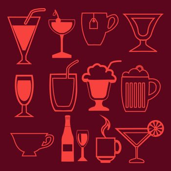 Vector bar and drinks icons set in linear style- illustration