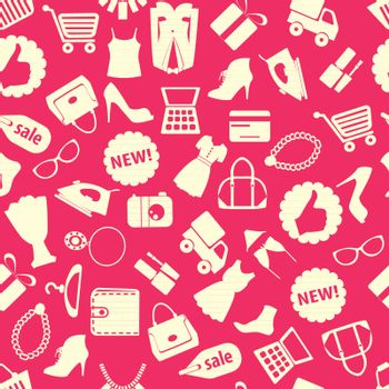 Seamless pattern vector background with colorful shopping icons