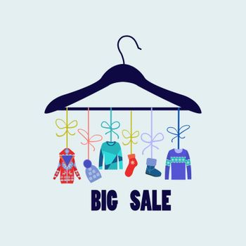 Vector Background of Hanger with fashion winter clothing  and accessories - Illustration . Fashion boutique.
