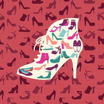 Colorful texture of fashion female shoes, fashion footwear background and icons set. Vector illustration