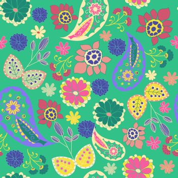Vector seamless Romantic Beauty pattern with Flower and  Paisley- Illustration