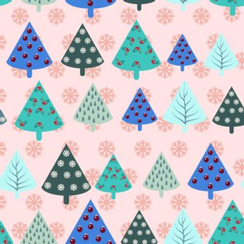 Christmas trees  seamless pattern background in vintage style- Illustration