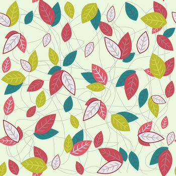 Vector Seamless  Pattern with colorful leaves . Botanical Background