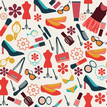 Vector Fashion background cloth and accessories, beauty pattern - Illustration